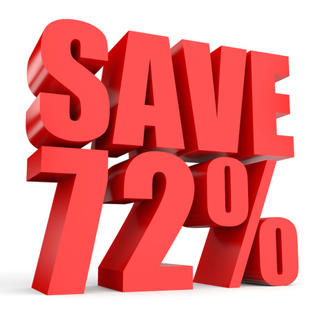 stock price losses: Discount 72 percent off. 3D illustration on white background. Stock Photo