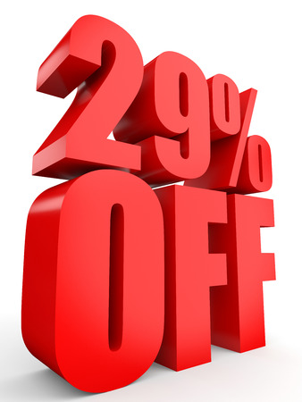 29: Discount 29 percent off. 3D illustration on white background. Stock Photo
