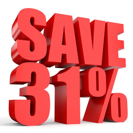 stock price losses: Discount 31 percent off. 3D illustration on white background.