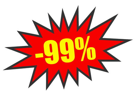99: Discount 99 percent off. 3D illustration on white background. Stock Photo