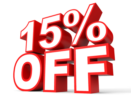 Discount 15 percent off. 3D illustration on white background. Banque d'images