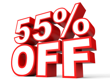 stock price losses: Discount 55 percent off. 3D illustration on white background.