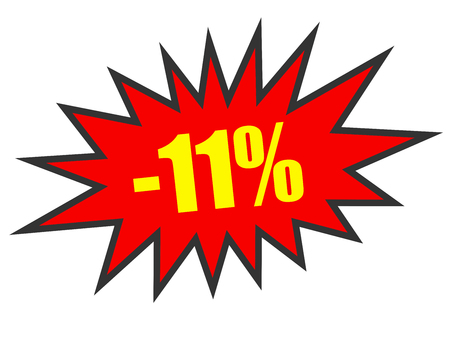 11: Discount 11 percent off. 3D illustration on white background.