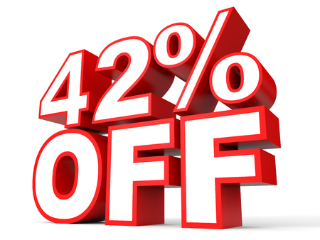 stock price losses: Discount 42 percent off. 3D illustration on white background.
