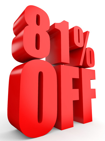 stock price losses: Discount 81 percent off. 3D illustration on white background. Stock Photo