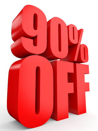 off white: Discount 90 percent off. 3D illustration on white background.