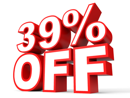 stock price losses: Discount 39 percent off. 3D illustration on white background.