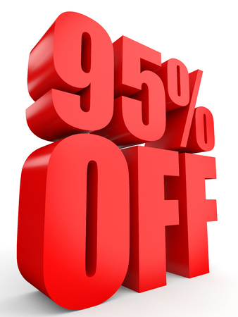 95: Discount 95 percent off. 3D illustration on white background.