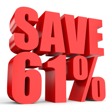 stock price losses: Discount 61 percent off. 3D illustration on white background. Stock Photo