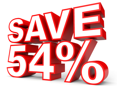 54: Discount 54 percent off. 3D illustration on white background.