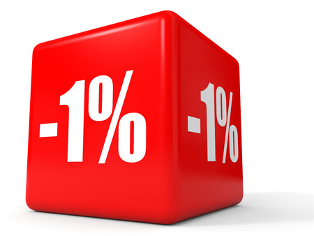 stock price losses: Discount 1 percent off. 3D illustration on white background. Stock Photo