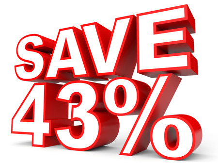 stock price losses: Discount 43 percent off. 3D illustration on white background. Stock Photo