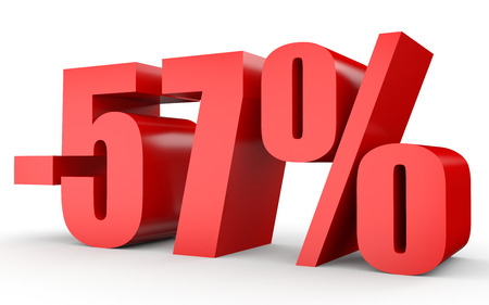 stock price losses: Discount 57 percent off. 3D illustration on white background.