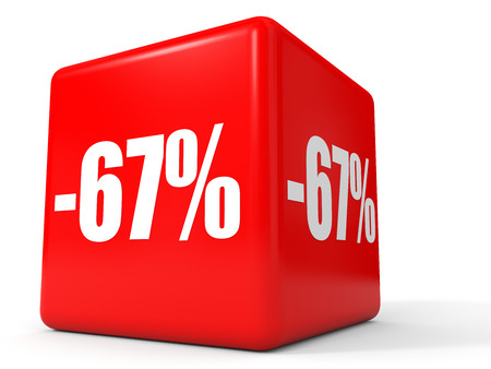 stock price losses: Discount 67 percent off. 3D illustration on white background.