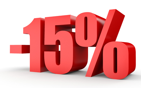 fifteen: Discount 15 percent off. 3D illustration on white background. Stock Photo