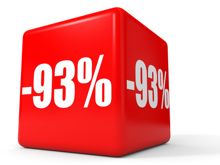 stock price losses: Discount 93 percent off. 3D illustration on white background.