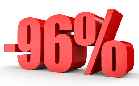 stock price losses: Discount 96 percent off. 3D illustration on white background.