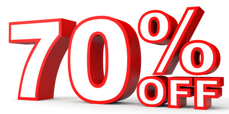 off white: Discount 70 percent off. 3D illustration on white background.