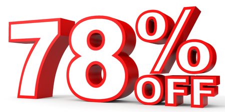 stock price losses: Discount 78 percent off. 3D illustration on white background. Stock Photo