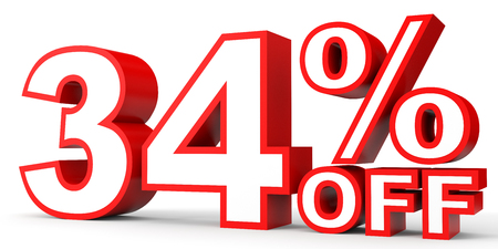34: Discount 34 percent off. 3D illustration on white background. Stock Photo