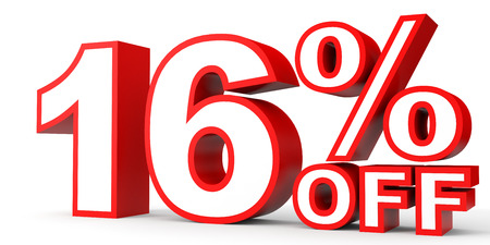 off white: Discount 16 percent off. 3D illustration on white background. Stock Photo