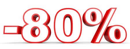 80: Discount 80 percent off. 3D illustration on white background.