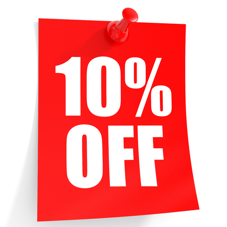Discount 10 percent off. 3D illustration on white background. Stock Photo