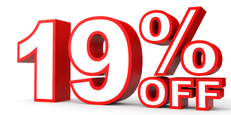 19: Discount 19 percent off. 3D illustration on white background.