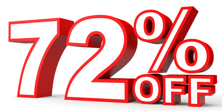 seventy two: Discount 72 percent off. 3D illustration on white background. Stock Photo