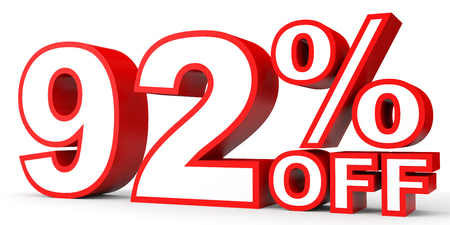 92: Discount 92 percent off. 3D illustration on white background. Stock Photo