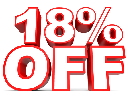 18: Discount 18 percent off. 3D illustration on white background. Stock Photo