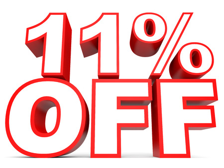 number eleven: Discount 11 percent off. 3D illustration on white background.