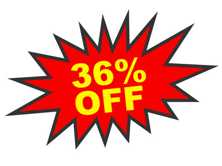 36 6: Discount 36 percent off. 3D illustration on white background.