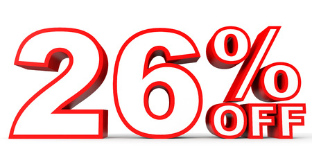 26: Discount 26 percent off. 3D illustration on white background.