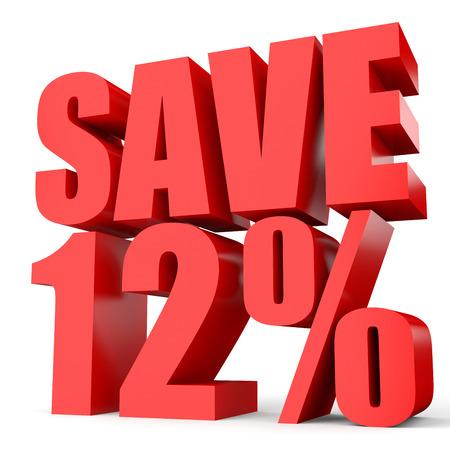 number twelve: Discount 12 percent off. 3D illustration on white background.