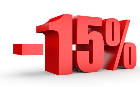 Discount 15 percent off. 3D illustration on white background. Standard-Bild