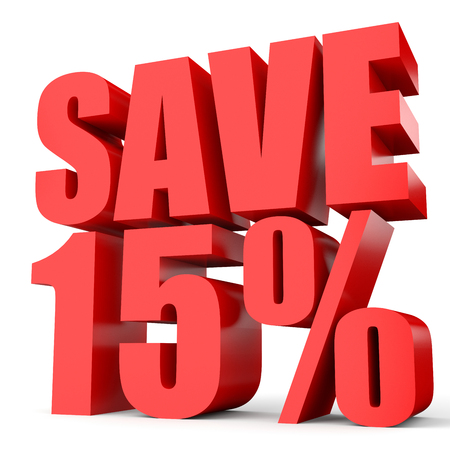15: Discount 15 percent off. 3D illustration on white background. Stock Photo