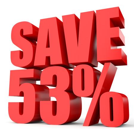 Discount 53 percent off. 3D illustration on white background.