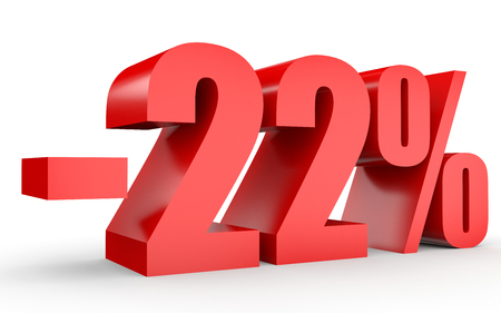 stock price losses: Discount 22 percent off. 3D illustration on white background. Stock Photo