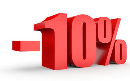 10% を割引します。白い背景に 3 D のイラスト。