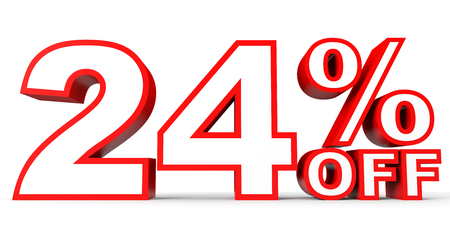 twenty: Discount 24 percent off. 3D illustration on white background.