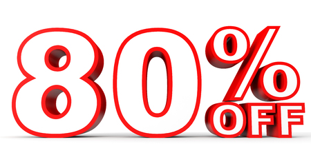 off white: Discount 80 percent off. 3D illustration on white background.