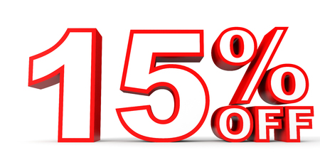 stock price losses: Discount 15 percent off. 3D illustration on white background. Stock Photo