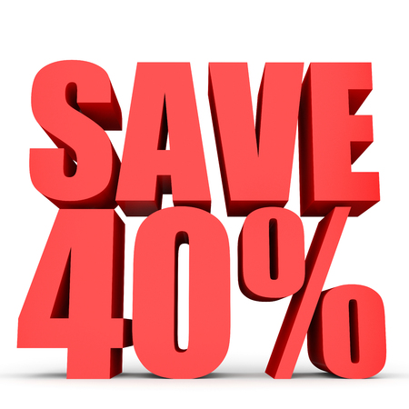 40: Discount 40 percent off. 3D illustration on white background. Stock Photo