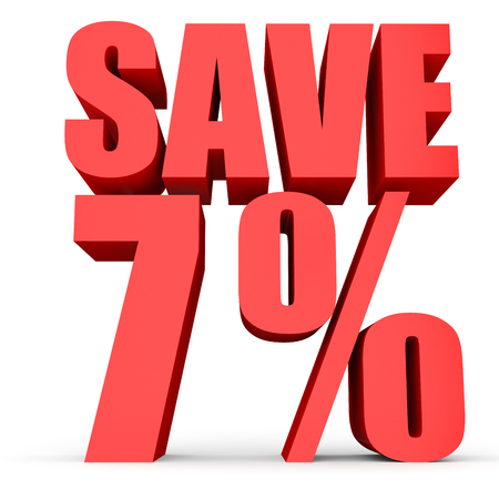 off white: Discount 7 percent off. 3D illustration on white background. Stock Photo