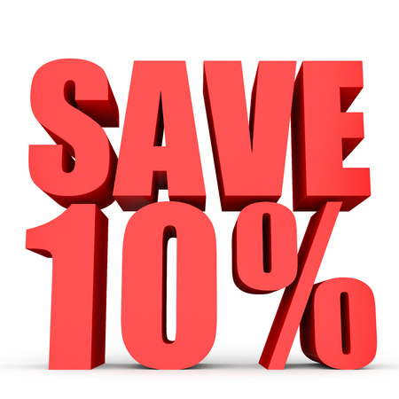 stock price losses: Discount 10 percent off. 3D illustration on white background.
