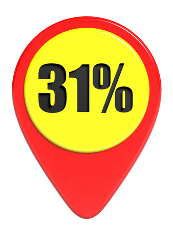 31: Discount 31 percent off. 3D illustration on white background.
