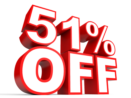 stock price losses: Discount 51 percent off. 3D illustration on white background. Stock Photo