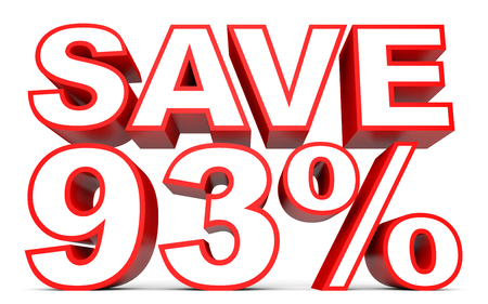 white interest rate: Discount 93 percent off. 3D illustration on white background.