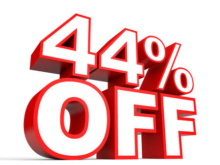 stock price losses: Discount 44 percent off. 3D illustration on white background. Stock Photo